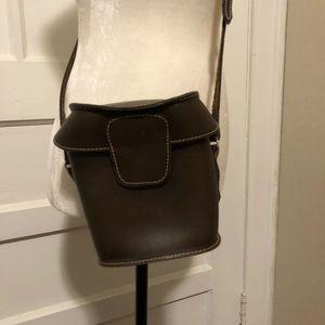 Vintage Small Dark Brown Leather Crossbody Bag